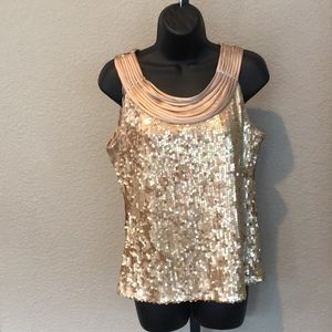 Dress Barn Collection Gold Sequin Top Blouse Shirt